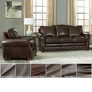 Link to Made in USA Porto Top Grain Leather Sofa and Chair Similar Items in Living Room Furniture