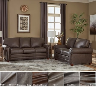 Made in USA Raval Top Grain Leather Sofa Bed and Loveseat
