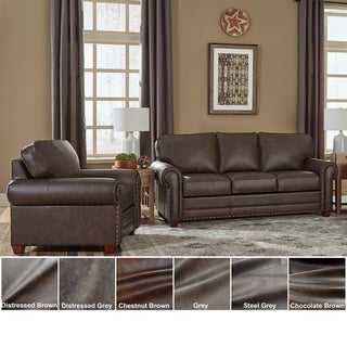 Made in USA Raval Top Grain Leather Sofa Bed and Chair