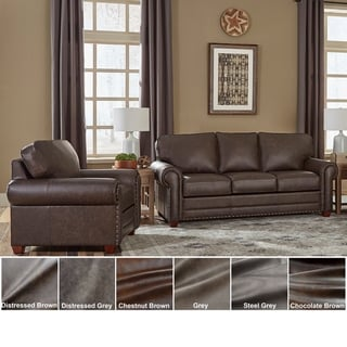 Made in USA Raval Top Grain Leather Sofa and Chair