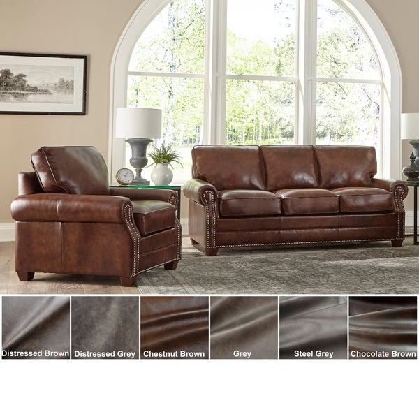 Made in USA Revo Top Grain Leather Sofa and Chair