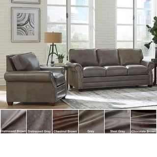 Made in USA Vernon Top Grain Leather Sofa Bed and Chair