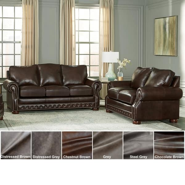 Shop Made in USA Porto Top Grain Leather Sofa and Loveseat ...