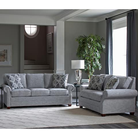 Made in USA Marner Grey Fabric Sofa Bed and Loveseat with Nailheads