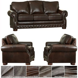 Made in USA Porto Top Grain Leather Sofa Bed and Two Chairs