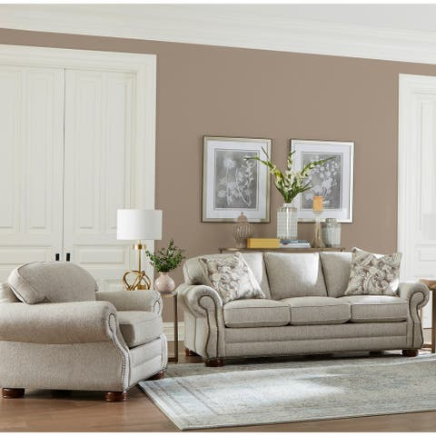 Made in USA Austin Taupe Fabric Sofa Bed and Chair with Nailhead Trim
