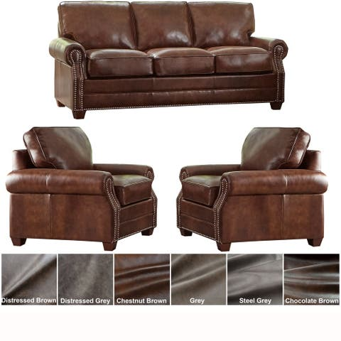 Made in USA Revo Top Grain Leather Sofa and Two Chairs