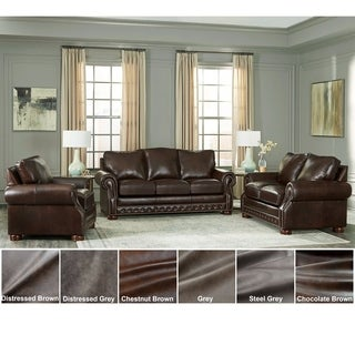 Made in USA Porto Top Grain Leather Sofa Bed, Loveseat and Chair
