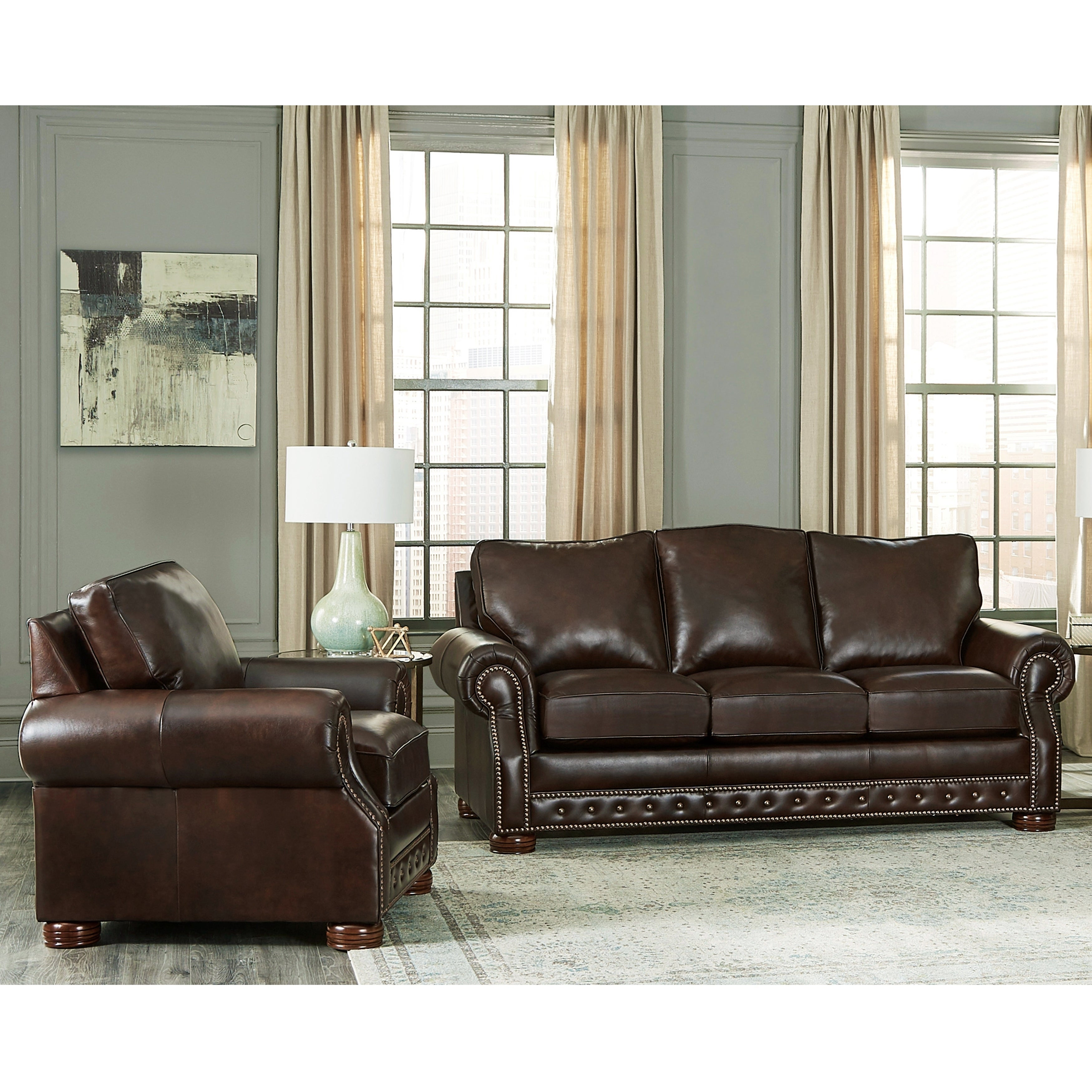 Made in USA Porto Top Grain Leather Sofa Bed and Chair