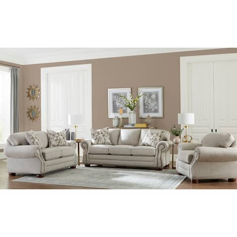 Made in USA Austin Taupe Fabric Sofa Bed, Loveseat and Chair