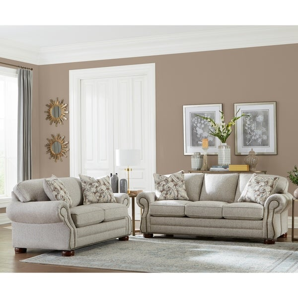 Made in USA Austin Taupe Fabric Sofa Bed and Loveseat Nailhead Trim