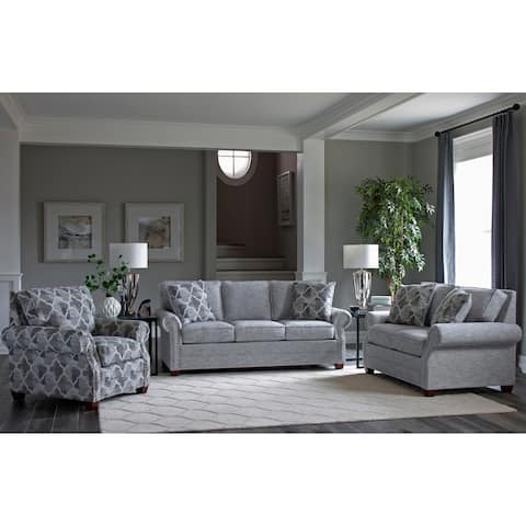 Made in USA Marner Grey Fabric Sofa Bed, Loveseat and Chair