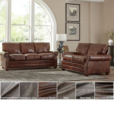 Revo Top Grain Leather Sofa Bed and Loveseat