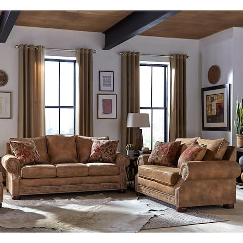 Made in USA Rancho Rustic Brown Buckskin Fabric Sofa Bed and Loveseat