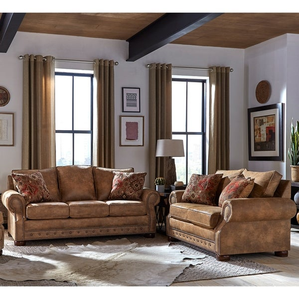 Made in USA Rancho Rustic Brown Buckskin Fabric Sofa Bed and Loveseat - 37 x 86 x 40