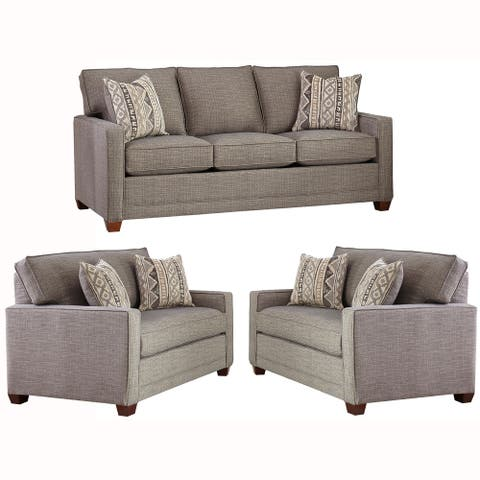 Made in USA Sumner Grey Fabric Sofa Bed and Two Chair and a Halfs