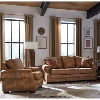 Made in USA Rancho Rustic Brown Buckskin Fabric Sofa Bed and Chair - 7 x 86 x 40