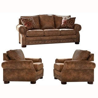 Made in USA Rancho Rustic Brown Buckskin Fabric Sofa Bed and Two Chairs