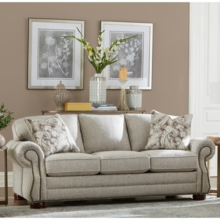Made in USA Austin Taupe Fabric Sofa with Nailhead Trim