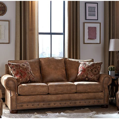 Made in USA Rancho Rustic Brown Buckskin Fabric Sofa Bed - 37 x 86 x 40