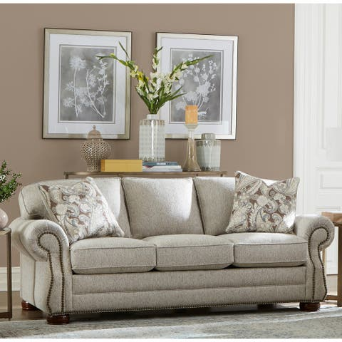 Made in USA Austin Taupe Fabric Sofa Bed with Nailhead Trim