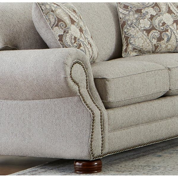 Outstanding Shop Made In Usa Austin Taupe Fabric Sofa Bed With Nailhead Pdpeps Interior Chair Design Pdpepsorg