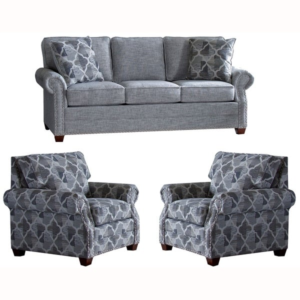 Made in USA Marner Grey Fabric Sofa Bed and Two Chairs with Nailheads