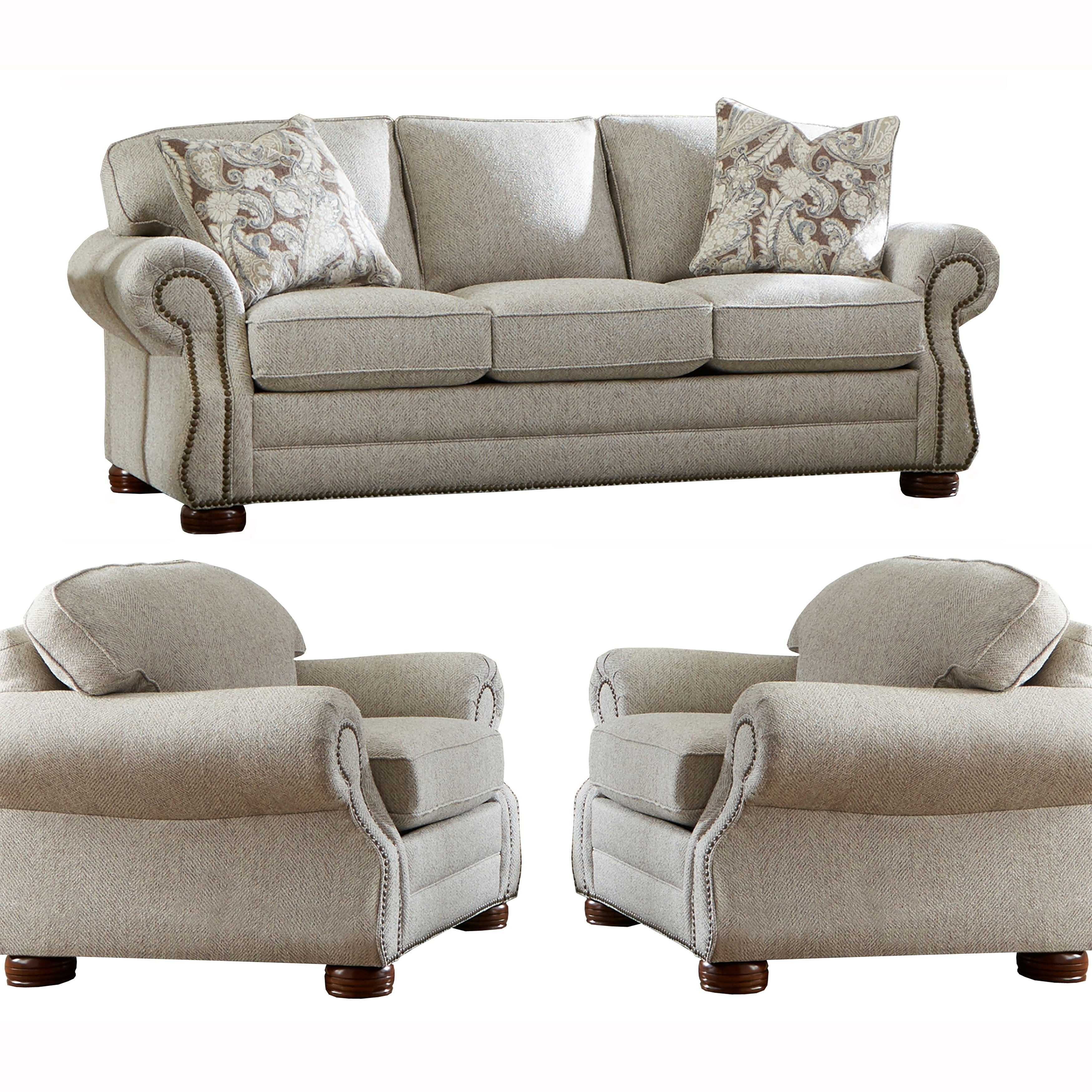 Taupe Fabric Sofa Bed And Two Chairs