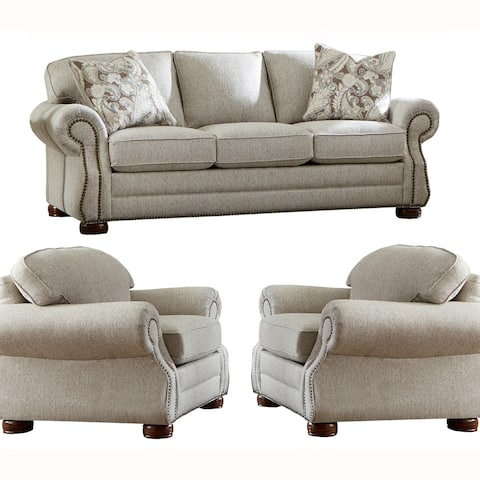 Made in USA Austin Taupe Fabric Sofa Bed and Two Chairs with Studs