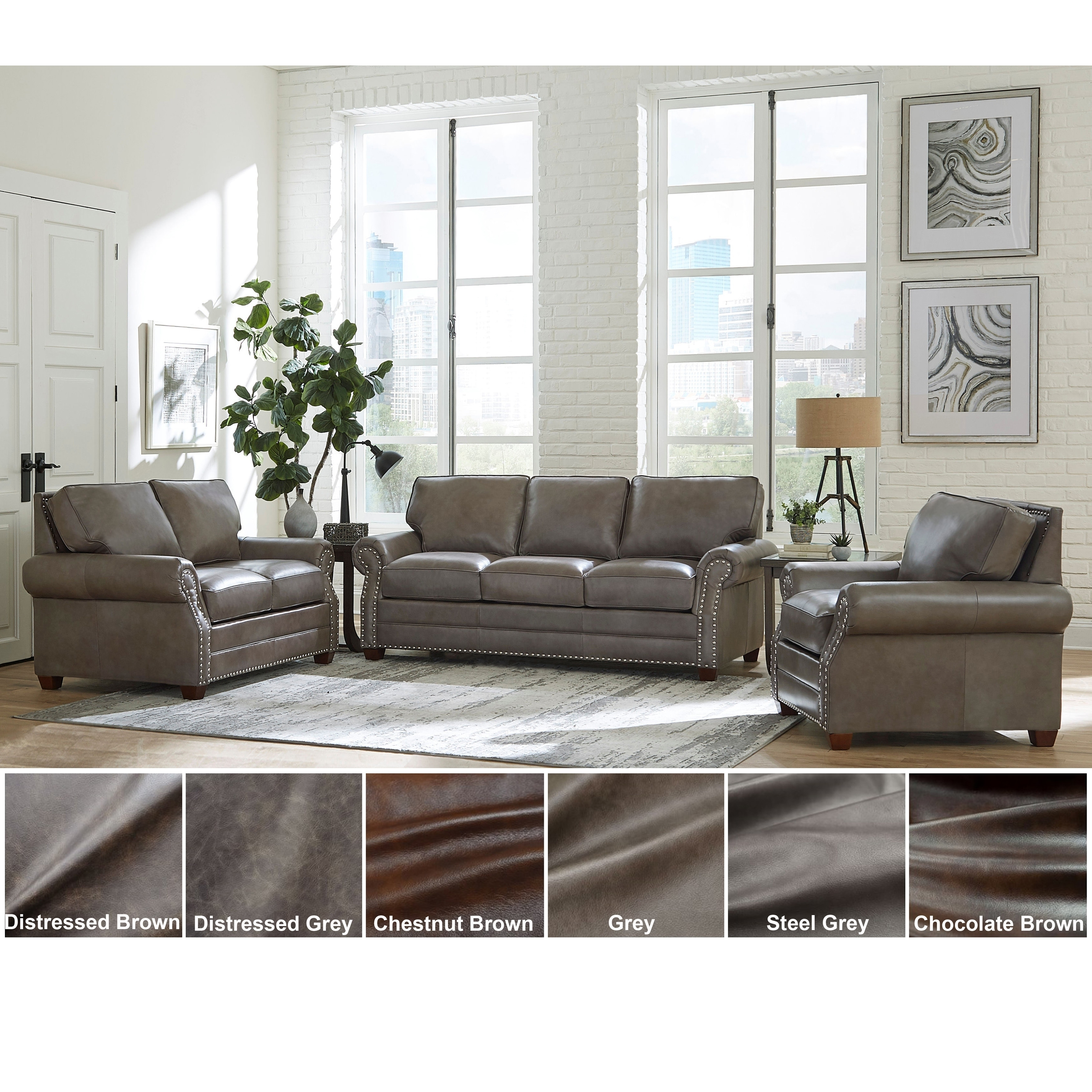 Shop Made in USA Vernon Top Grain Leather Sofa, Loveseat and Chair ...