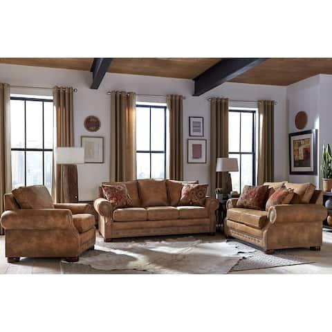 Rancho Rustic Brown Buckskin Fabric Sofa Bed, Loveseat, and Chair