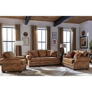 Made in USA Rancho Rustic Brown Buckskin Fabric Sofa Bed, Loveseat and Chair