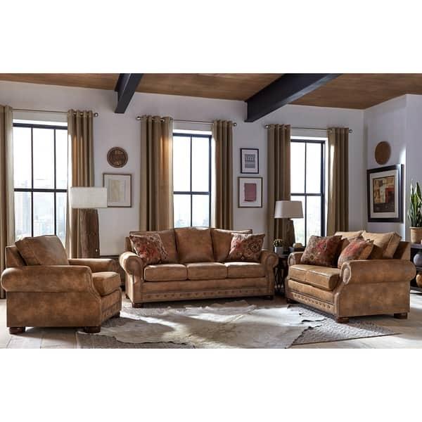 Fine Shop Made In Usa Rancho Rustic Brown Buckskin Fabric Sofa Camellatalisay Diy Chair Ideas Camellatalisaycom