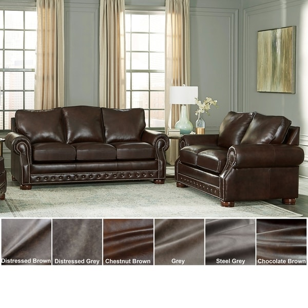 Made in USA Porto Top Grain Leather Sofa Bed and Loveseat