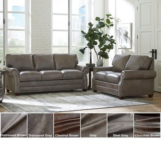 Made in USA Vernon Top Grain Leather Sofa Bed and Loveseat