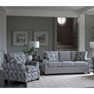 Made in USA Marner Grey Fabric Sofa Bed and Chair with Nailheads