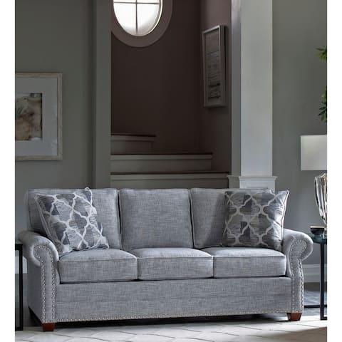Made in USA Marner Grey Fabric Sofa with Nailhead Trim