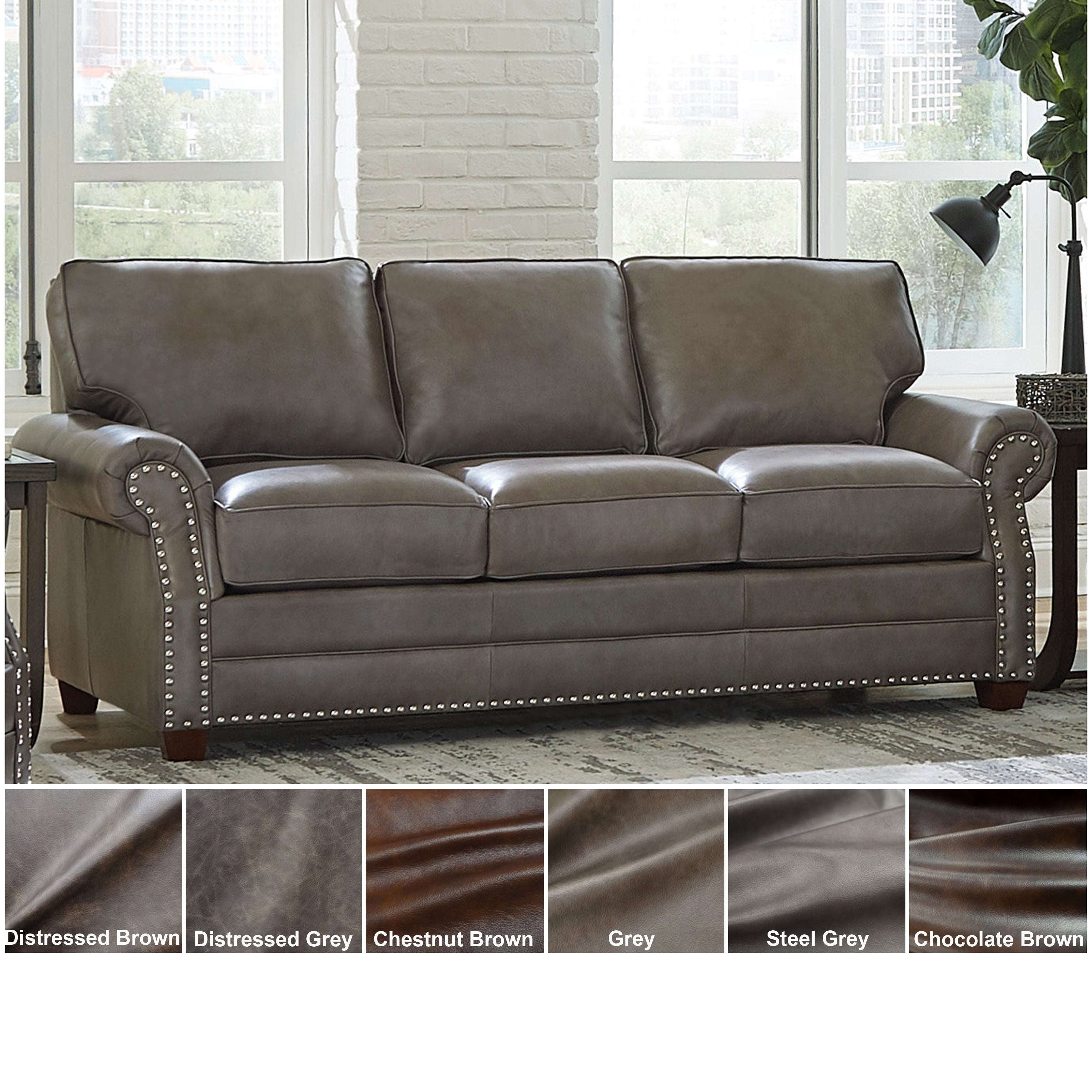 Surprising Buy Nailheads Leather Sofas Couches Online At Overstock Theyellowbook Wood Chair Design Ideas Theyellowbookinfo
