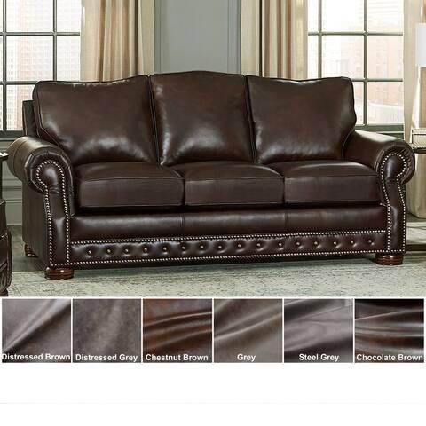 Made in USA Porto Top Grain Leather Sofa Bed