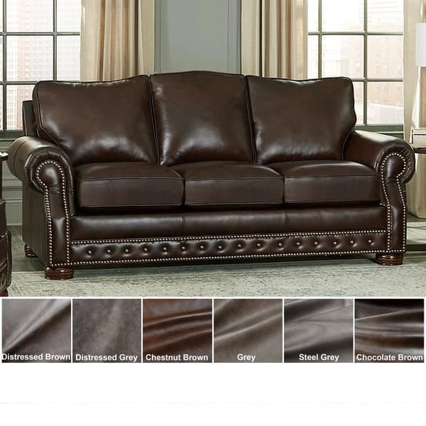 Shop Made in USA Porto Top Grain Leather Sofa Bed - On Sale - Free ...