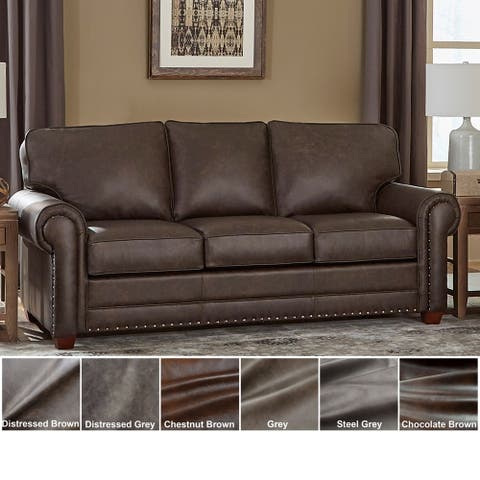 Made in USA Raval Top Grain Leather Sofa Bed