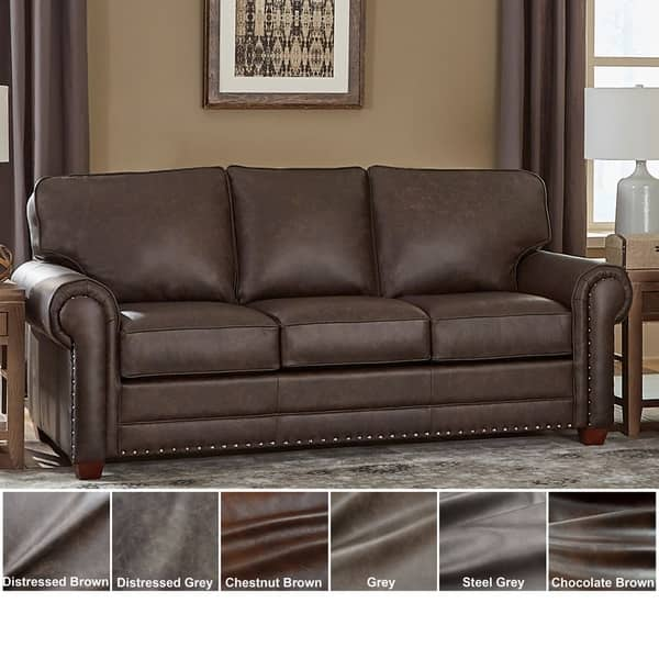 Shop Made in USA Raval Top Grain Leather Sofa Bed - On Sale ...