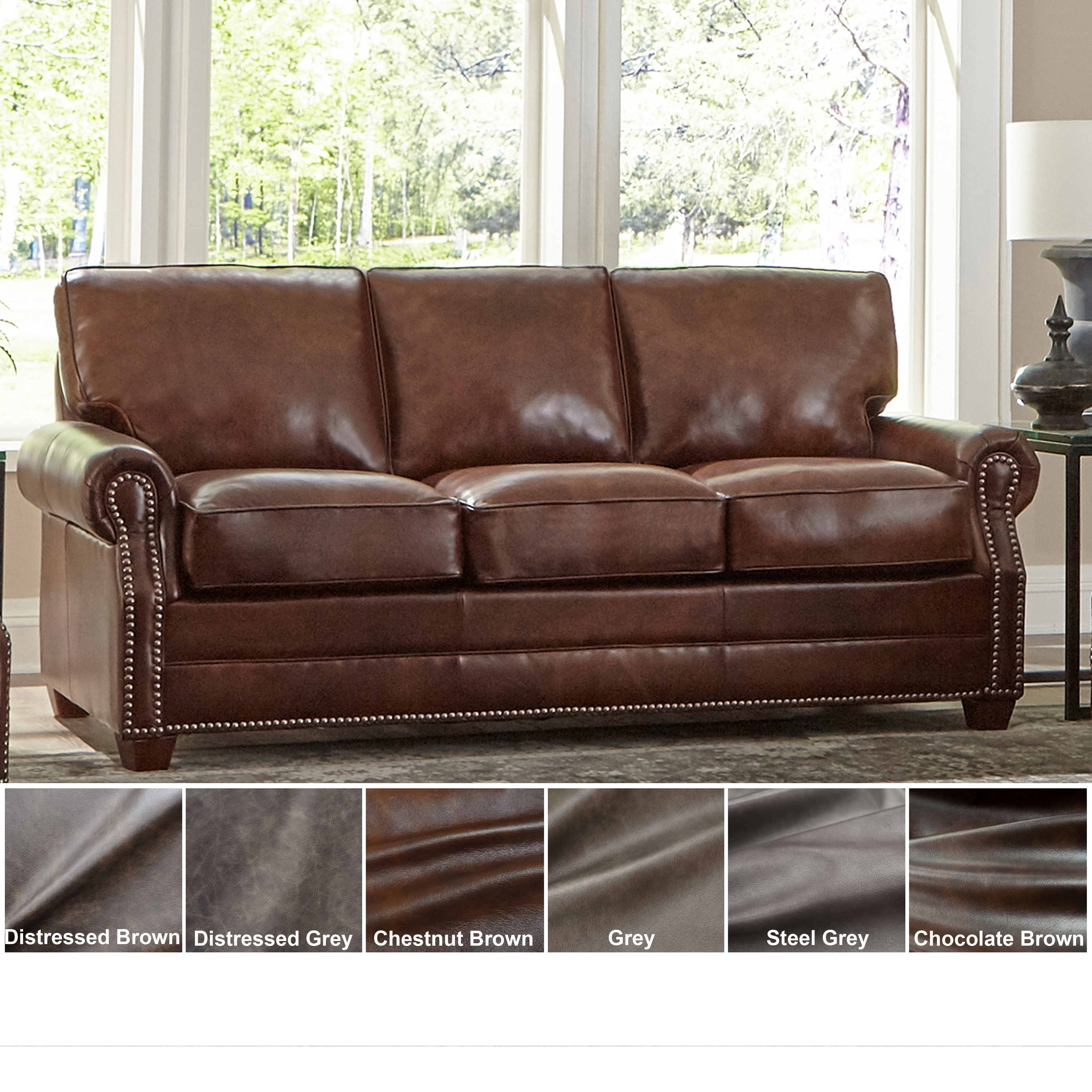 - Shop Made In USA Revo Top Grain Leather Sofa - On Sale - Overstock