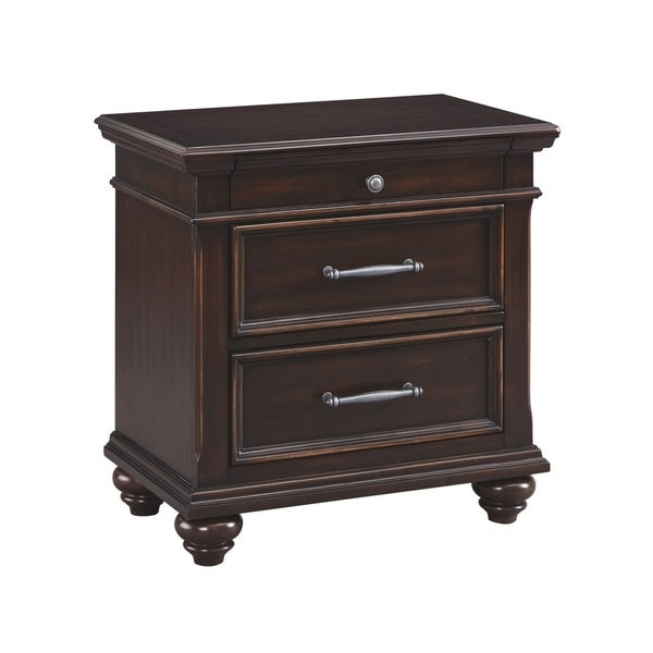 Brynhurst Three Drawer Night Stand - Traditional Style - Dark Brown