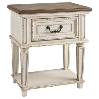 The Gray Barn Nettle Bank 1-drawer Chipped White and Brown Wood Nightstand