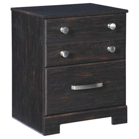 Reylow Two Drawer Night Stand - Casual Style - Dark Brown