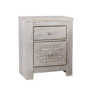 Paxberry Two Drawer Night Stand - Traditional Style - Whitewash
