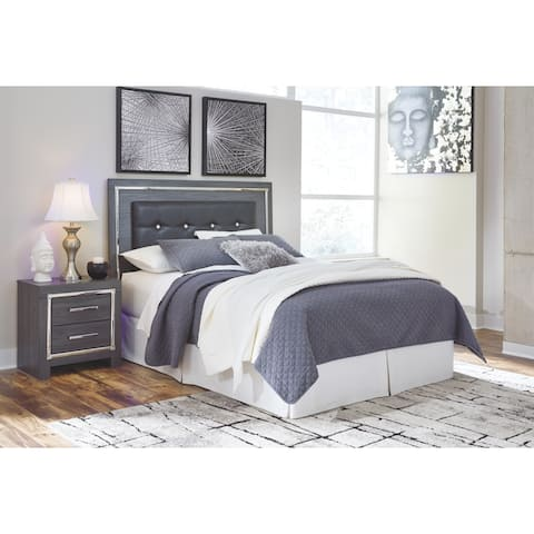 Signature Style by Ashley Lodanna Grey Wood Upholstered Queen/Full Panel Headboard