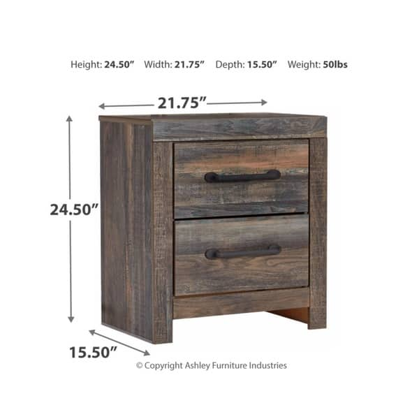 Shop Drystan Two Drawer Night Stand - Casual Style - Multi ...