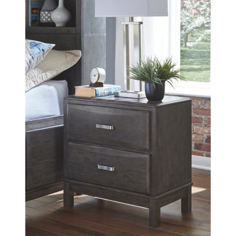 Caitbrook Two Drawer Night Stand - Contemporary Style - Gray
